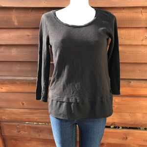 French terry top with chiffon